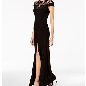 Long black dress with slit and sequin neck